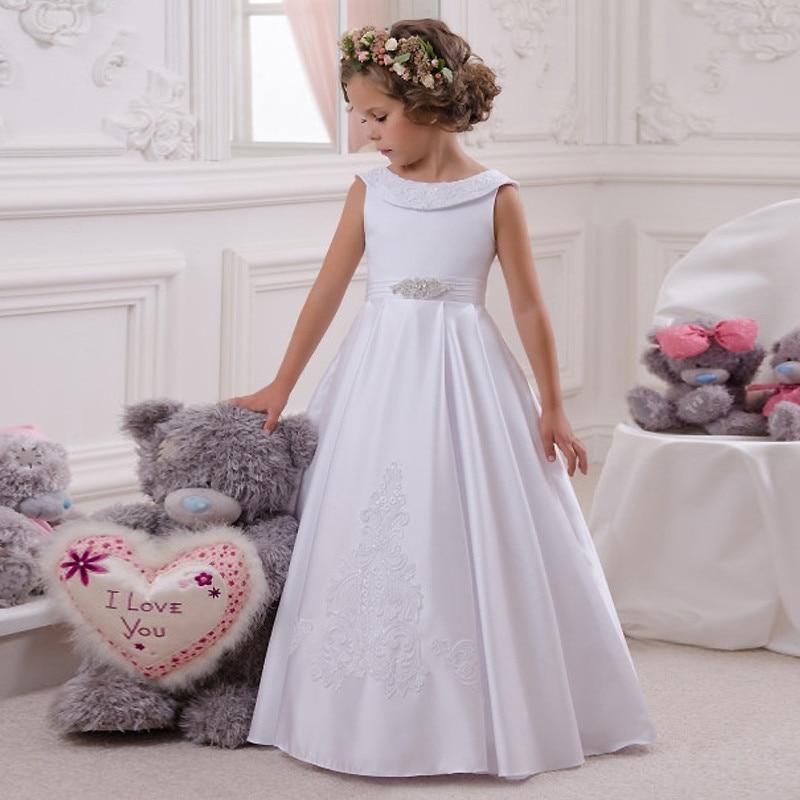 White Ivory Satin Girls First Communion Dress with Beaded Sash Little Princess Birthday Dress Flower Girls Dresses for Wedding