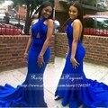 Longo Vestido de Baile 2017 Sereia Halter Mangas Cetim Stretch Backless Africano Azul Royal Vestidos de Baile