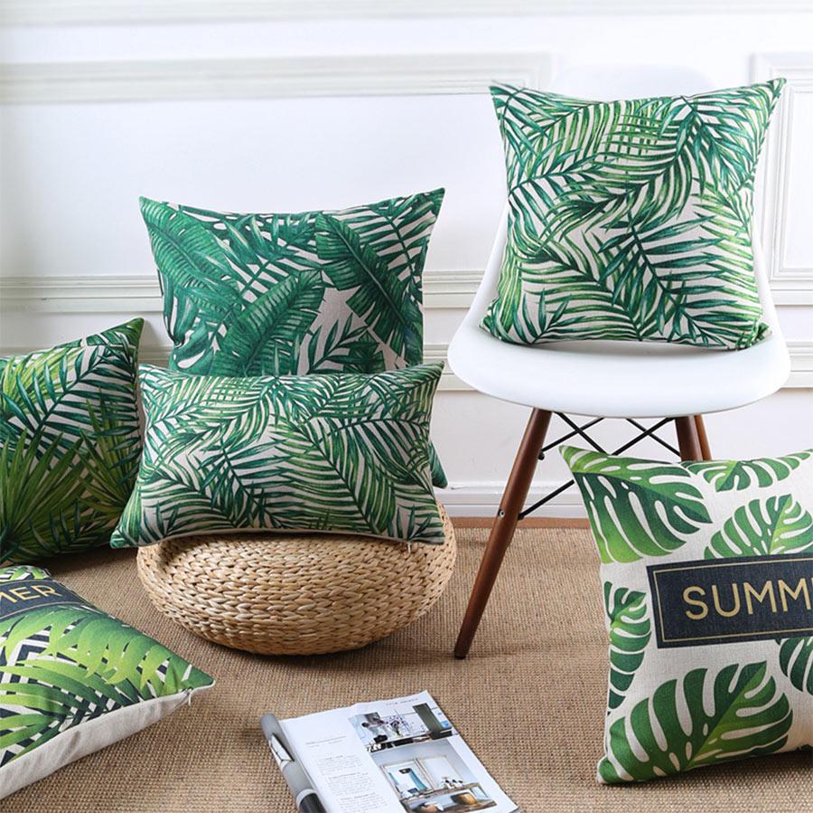 Free Shipping!!European country green plant square throw pillow/almofadas case 45 53 30x50,fashion cushion cover home decore