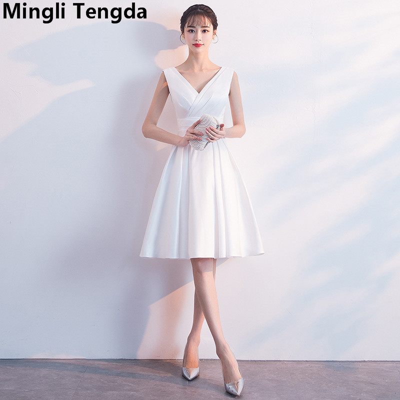 Mingli Tengda White V Neck   Bridesmaid     Dresses   Elegant Satin   Dress   for Wedding Party robe de demoiselles d honneur pour mariage