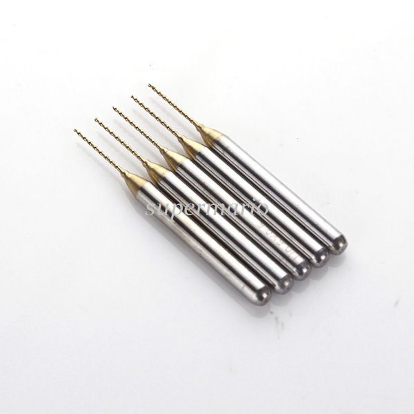 SHINA 5x Titanium Nitride Coated Carbide PCB rotary tool Jewelry CNC Drill Bits Router 0.8mm