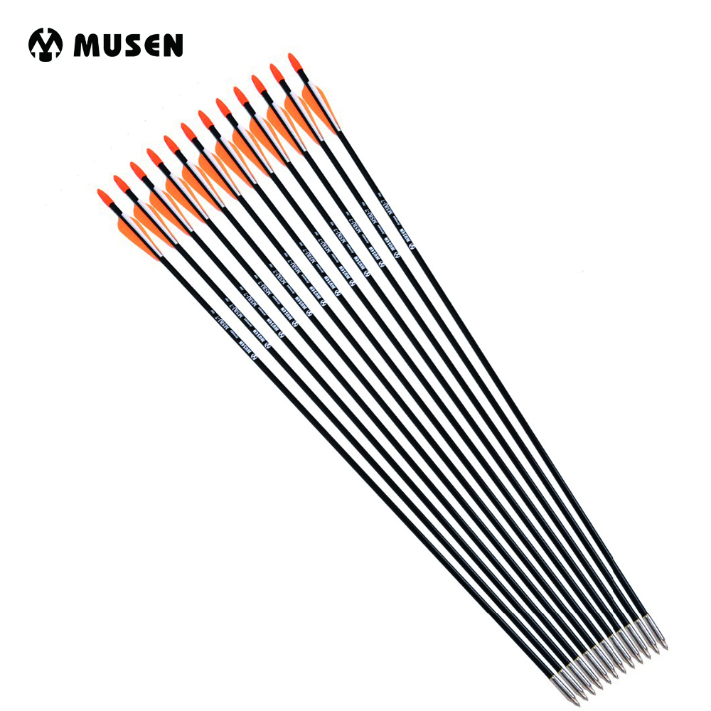 6/12/24 Pcs/lot 31 Inches Spine 700 with Orange Feather Fiberglass Arrow for Recurve Bow Arrow or Long Bow Practice /Hunting