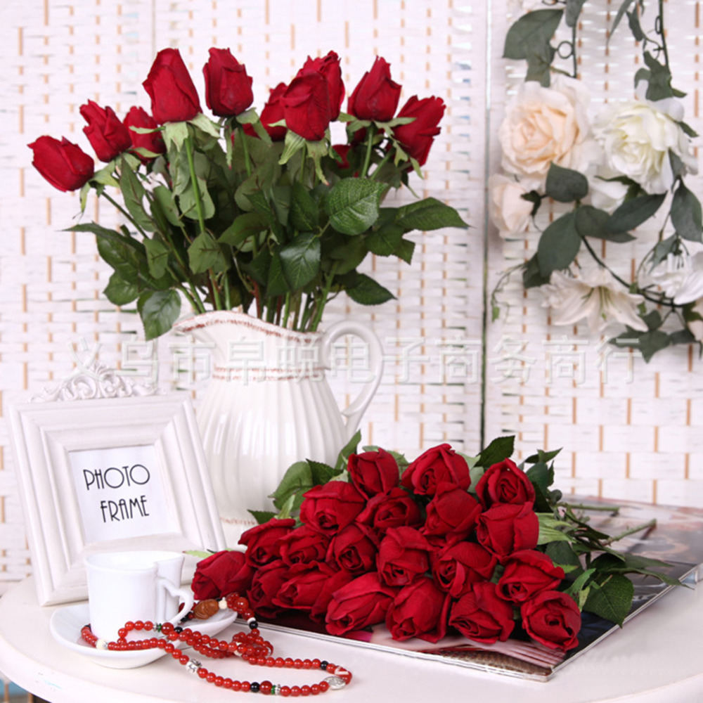 Fake artificial decorations flowers silk rose bouquet for Decoration or rose
