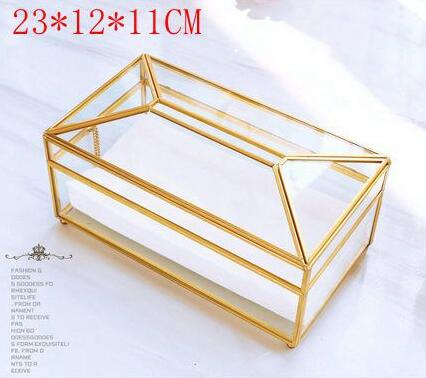 Золотая стеклянная зеркальная коробка для салфеток высокое качество стеклянная коробка для хранения косметики с зеркальной крышкой коробка-держатель для салфеток - Цвет: L glass