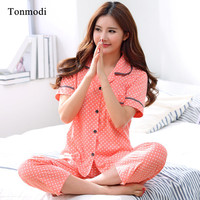 Pajamas for women summer Short sleeve Pyjamas Trousers Cotton Dot Cardigan Women lounge Pajama Set thin