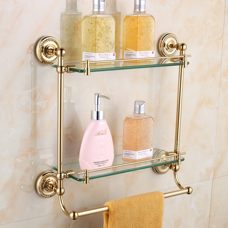 European Antique circular Golden Paper Double layer glass towel bar/Towel Rail Brass Plated Antique Wall Mount Sanitary products