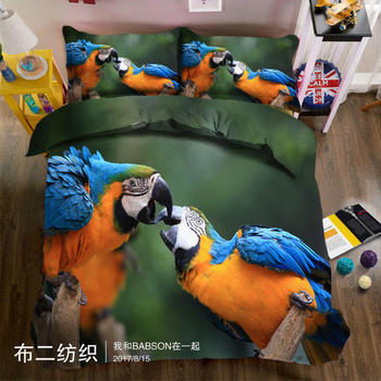 Fashion Parrot 3D bedding Set for bed Duvet Cover set twin full queen king size bed set printed sheet bed