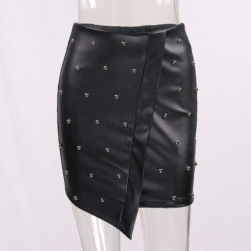 WYHHCJ 2018 new fashion summer women skirt anomaly rivet decorate empire sexy skirts pencil mini pu patchwork leather skirt 6