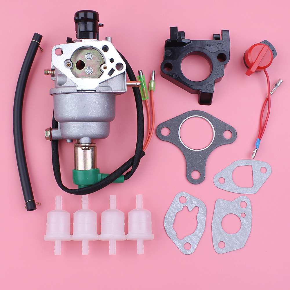 Auto Choke Carburetor Carb For Honda GX390 13HP GX 390 188F Engine Motor Fuel Filter Insulator Spacer Gasket Stop Switch Kit