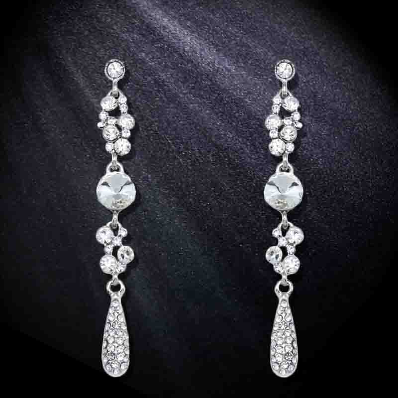Flola Crystal Silver Long Earrings For Women Water Drop Rhinestone Wedding Brides Jewelry S Ersh47 In From