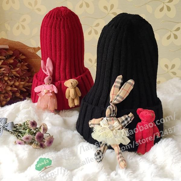 For kids children Rabbit bear Plush Doll Autumn Warm Hip Hop Cap Warm Wool Knitting Hats For Men Women the new children s cubs hat qiu dong with cartoon animals knitting wool cap and pile