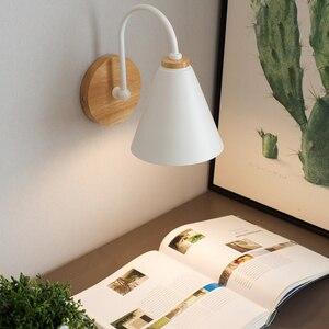 Image 4 - Luces de pared de madera para mesita de noche lámpara de pared para dormitorio, candelabro para cocina, restaurante, lámpara de pared moderna, apliques nórdicos de macarrón