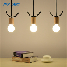 Wood Deer Pendant Lights Modern Northern American Art Decor Wrought Black white Oak Pendant Lamp bar Kids Dining  Living Room
