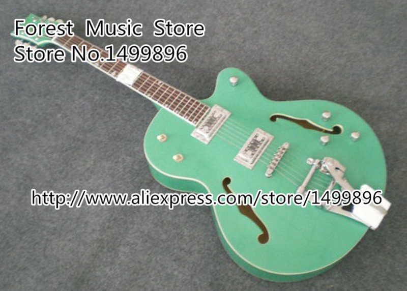 Top Selling Emerald Green Classical Chinese Jazz Electric Guitar with Bigsby Hollow Guitar Body & Kits Available high quality custom shop lp jazz hollow body electric guitar vibrato system rosewood fingerboard mahogany body guitar
