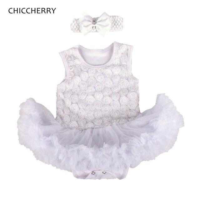 Белый 3D Розы Малыша Кружева Ползунки Dress + Оголовье 2 ШТ. Новорожденный Пачка Устанавливает Мода 2016 Baby Girl Одежда Для Новорожденных одежда