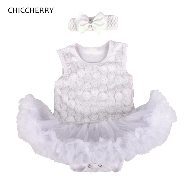 Headband Outfit Clothes Birthday Party Infant Girls Baby Rose Flower Tutu Dress