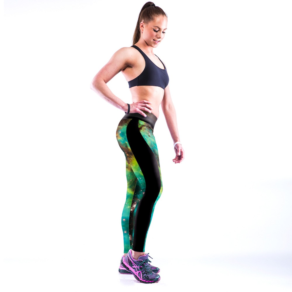 3D PRINT WOMEN LEGGINGS HIGH WAIST LEGGING GREEN GALAXY STYLE  PRINTED WOMEN PANTS SLIM FITNESS LEGGINS