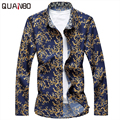 2017 New Arrivals Plus size 6XL 7XL Mens Floral Shirts Spring Autumn Fashion Long Sleeve Shirt  Casual camisa masculina