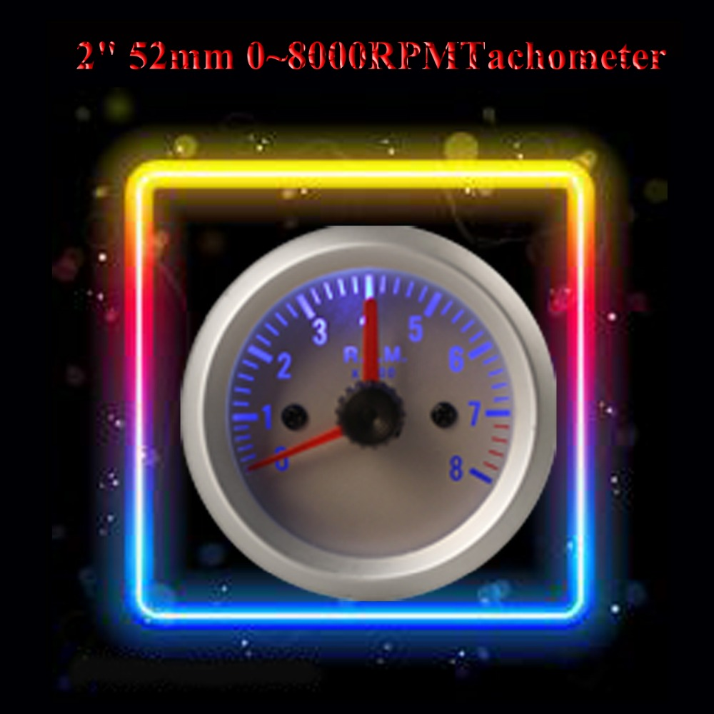 "Hot Sale! New arrival! 0~8000RPM 2"" 52mm Blue Light <font><b>Tachometer</b></font> <font><b>Tach</b></font> <font><b>Gauge</b></font> <font><b>with</b></font> <font><b>Holder</b></font> <font><b>Cup</b></font> <font><b>for</b></font> <font><b>Auto</b></font> Car"