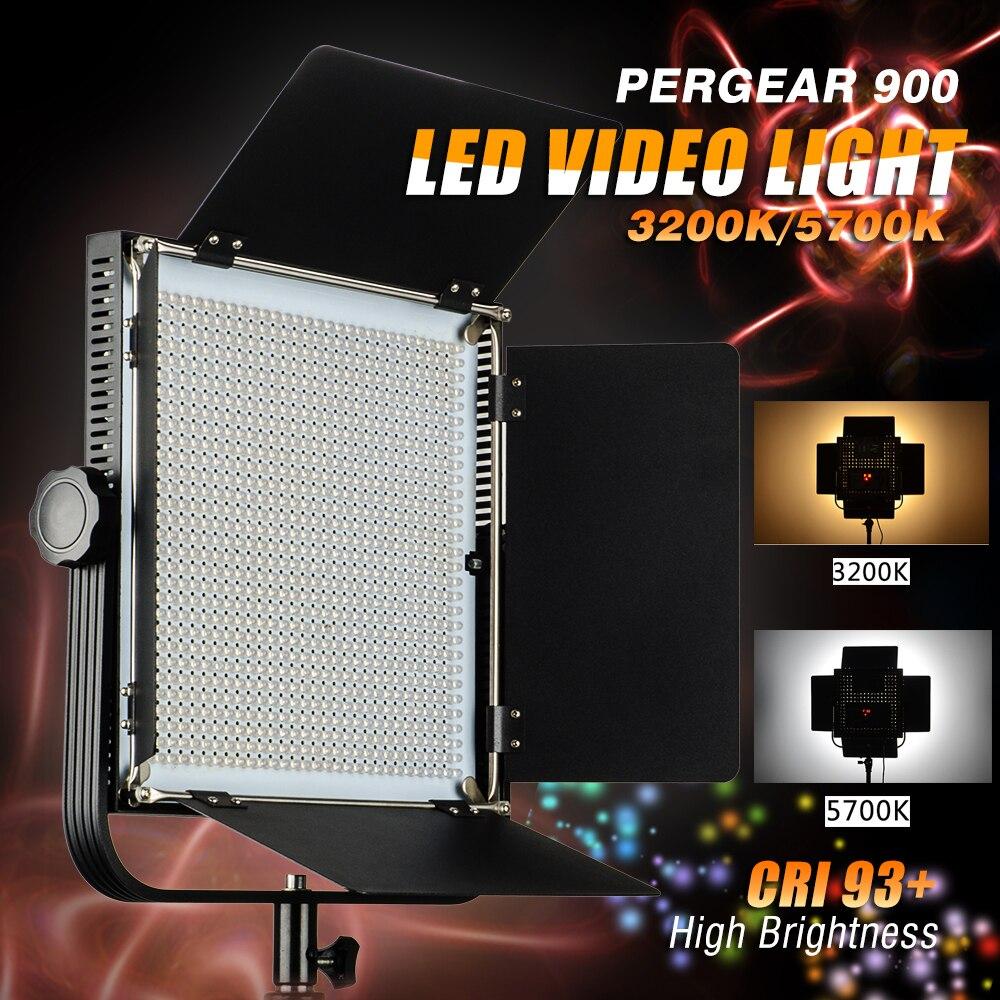 Pergear 900 3200 K / 5700 K Dimmable CRI 93 + avec porte de grange LED écran plat lampe de lumière la photographie de Studio vidéo LED lumière extérieure