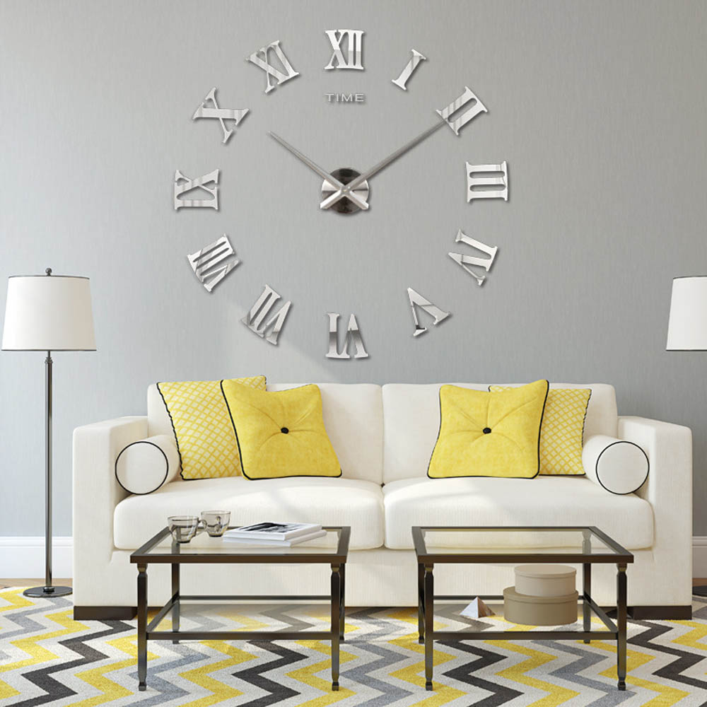 Popular metal wall clock roman numerals buy cheap metal for Living room wall clocks