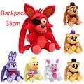 33CM Five Nights At Freddys plush bag fnaf plush backpack Freddy Fazbear Foxy bonnie chica plush & stuffed school bag Plush toys