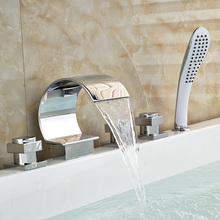 Modern Chrome Finish 5pcs Bathtub Faucet Set Deck Mount Bath Shower Mixer Tap With Hand Shower