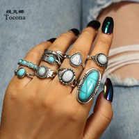 Tocona 8 unids/set Vintage antiguo plata verde piedra Midi dedo anillo conjunto para mujeres aleación de Metal anillos Boho fiesta joyería 6225