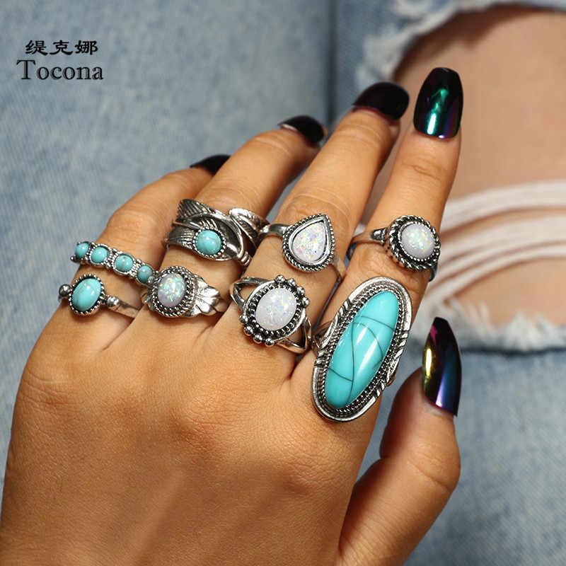 Tocona 8 ชิ้น/เซ็ต VINTAGE โบราณหินสีเขียวเงิน MIDI ชุดแหวนนิ้วมือสำหรับผู้หญิงโลหะแหวน Boho เครื่องประดับ 6225