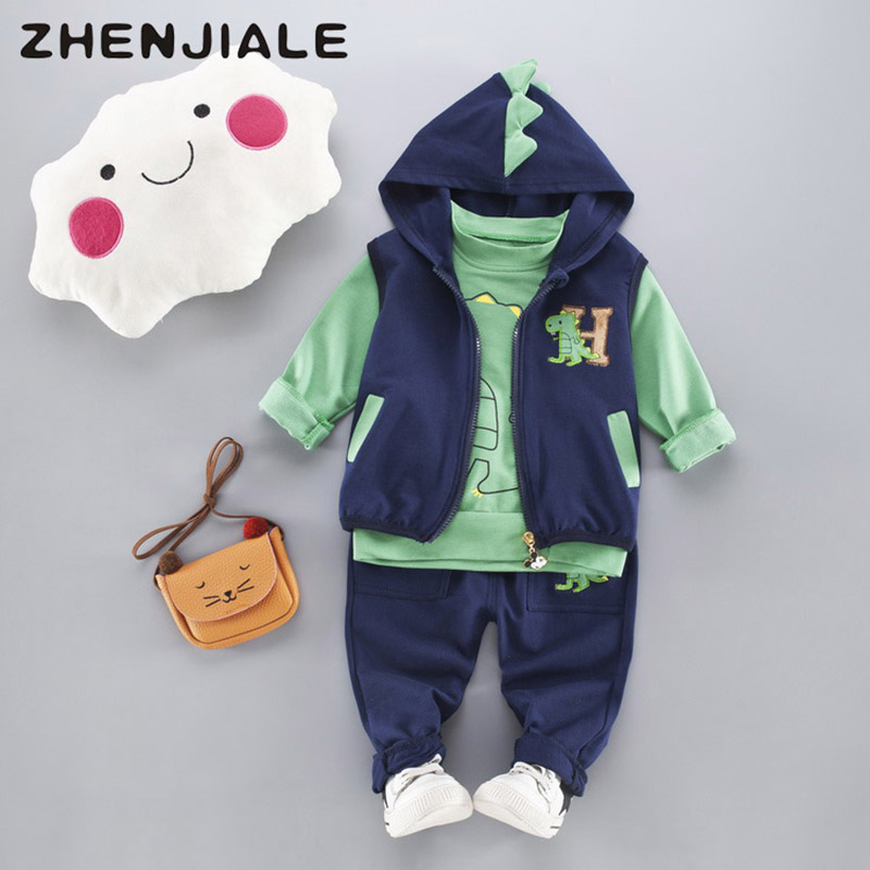 купить 2018 Spring Autumn Girls Boys Clothes Sets dinosaurs Vest Jacket+Shirt+Pants 3pcs Kids Suit Newborn baby girl clothing A22 онлайн