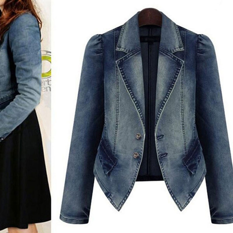 Online Get Cheap Womens Denim Jean Jacket Blazers -Aliexpress.com ...