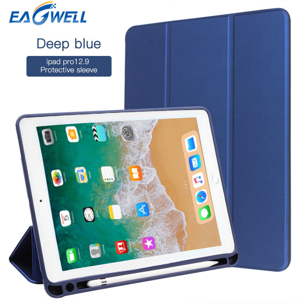 New Smart Case Cover For iPad Pro 12.9 (2017 2nd Gen ) PU Leather Flip Stand Case With Pencil Holder Protective Shell Funda luxury slim with magnetic flip pu leather stand case for apple new ipad 9 7 2017 release tablet protective smart painting cover