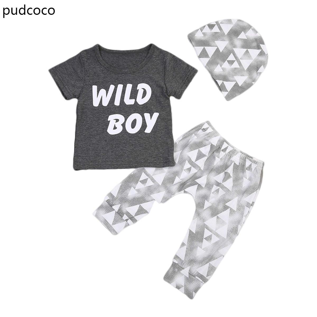3pcs Kids Clothes Set Newborn Baby Boys Wild Boy Short Sleeve Tops T-shirt Pants Leggings Hats Outfits Children Clothing Sets