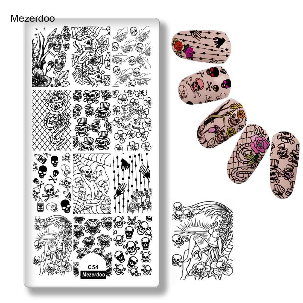 Nail Stamps Nail Art Plates Stainless Steel Funny Skull Flower Diy Death Skeleton Bone Sprider Web Stripe Design Image Templates