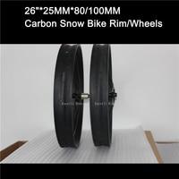 Excelli 26 * 80 мм углеродного Колёса для снега жира Bicicleta горный bike26 оправа углерода довод и hookless 26 * 25 мм * 80/100 мм Toray