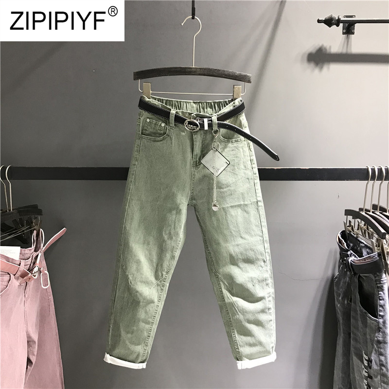 2019 Spring Fashion Harem Jeans Women High Waist Pants Female Casual Washed Denim Elastic Jeans Stretch Sashes Trousers K463-in Jeans from Women's Clothing    1
