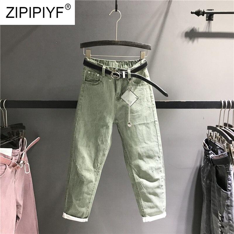2019 primavera moda Pantalones Harem Pantalones mujer pantalones de cintura alta Mujer Casual Denim elástico Jeans Stretch fajas pantalones K463-in Pantalones vaqueros from Ropa de mujer    1