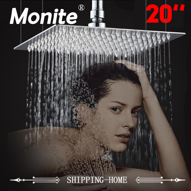 20 Inch Shower Head Ceiling Square Stainless Steel Rainfall Shower Head Top Shower For Bathroom Rain Shower Head Sprinkler 12 inch shower head with arm 300 300 stainless steel head shower with ceiling shower arm top water saving rain shower