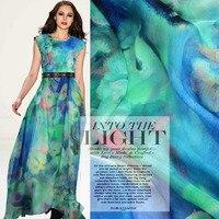 1Meter Lot 140CM Width Ultra Thin 100 Mulberry Silk Chiffon Light Blue Print Fabric Material Textile