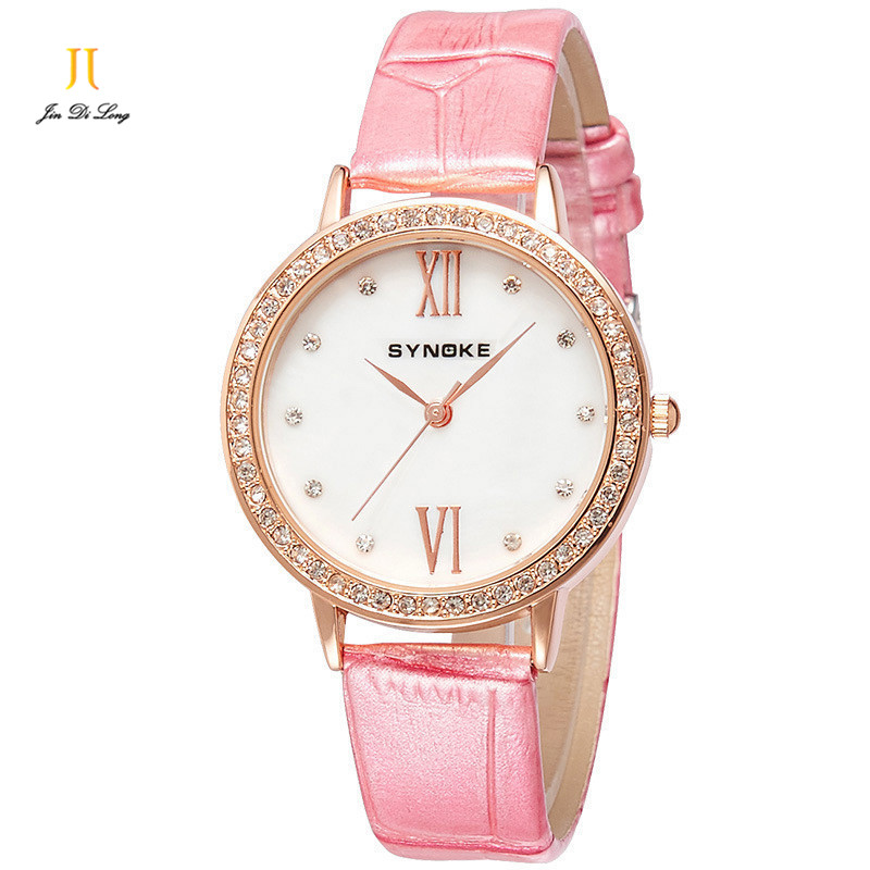 Brand Fashion Ladies Casual Dress Watch Women Quartz-Watch Diamond Leather Strap Watches Waterproof Relojes Mujer