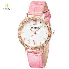 Марка Мода Дамы Платье Часы Женщины Кварцевые Часы Алмазный Кожаный Ремешок Часы Водонепроницаемые Relojes Mujer