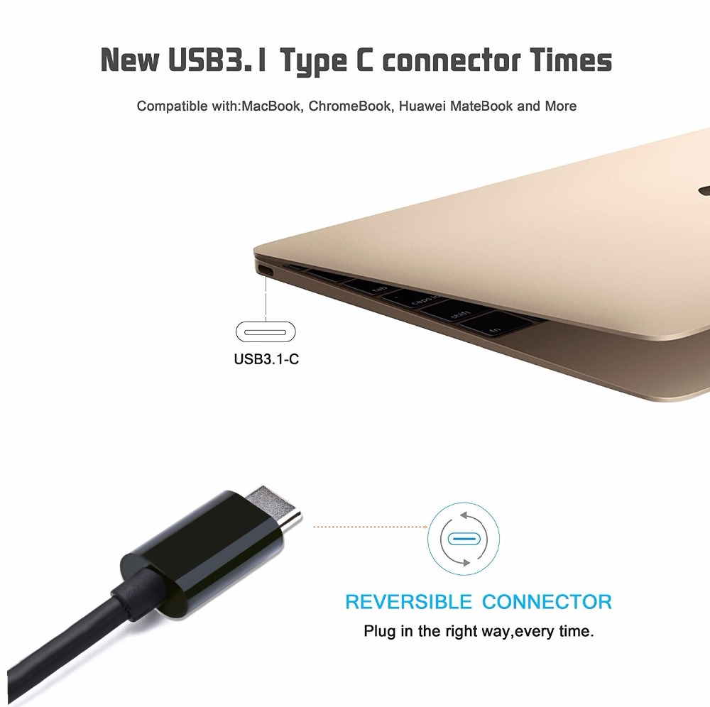 Thunderbolt 3 dvi Cable usb c USB 3.1 Type-C to dvi Adapter for New Macbook pro 2017 2016 dell xps Huawei Mate 10