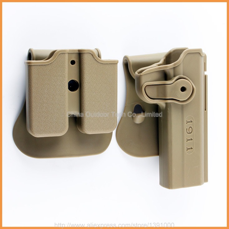 Tactical 1911 Gun Holster Retention Roto Holsters and Double Magazine Holster for Colt 1911 .45 Ruger 90 97 Sig 220 245