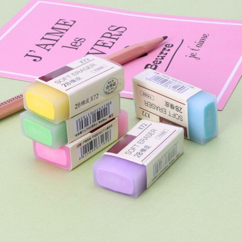 10 Pieces Fanct Soft Durable Flexible Cube Cute Colored Pencil Rubber Erasers Random Color for School Kids
