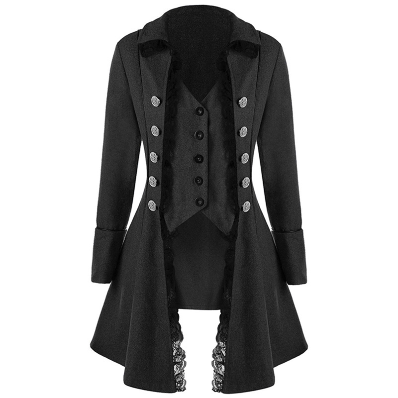 Women Retro Tops Lace Button Decor Vintage Long Sleeve Victorian   Coat   Gothic Corset Rock Women Cosplay Steampunk Jacket