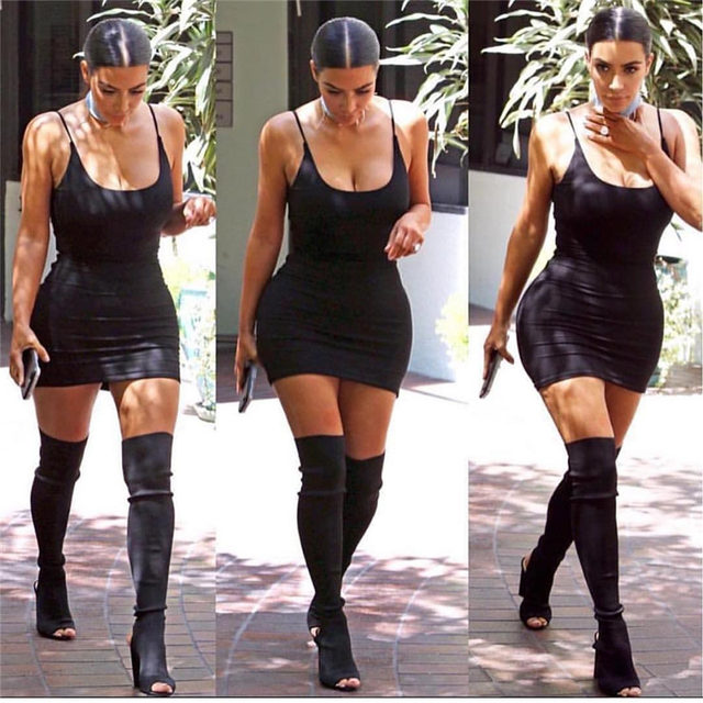 Kim kardashian black dress 2018 summer