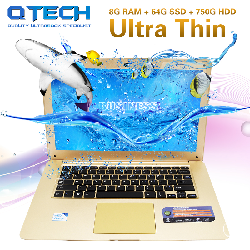 14 8GB RAM 64GB SSD +750GB HDD Laptop Computer Fast CPU Intel Windows Ultrabook Office A ...