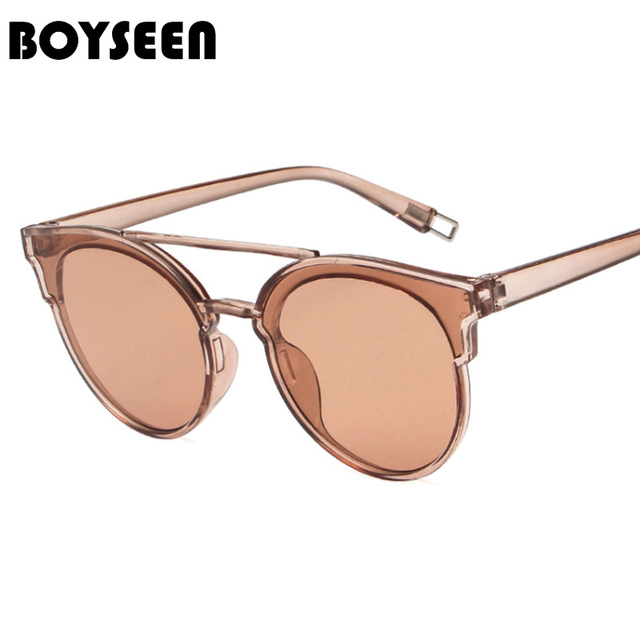 b4e5dffd7925 BOYSEEN Hot Sale Fashion Cat Eye Sunglasses Women Classic Brand Designer  Female Twin-Beams Coating Mirror Flat Panel Lens 5147