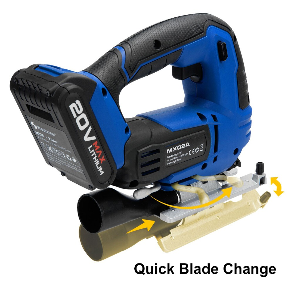 Tools : Jig Saw 20V Cordless Jigsaw Quick Blade Change Electric Saw LED Light Guide With 6 Pcs Blades Woodworking Power By PROSTORMER