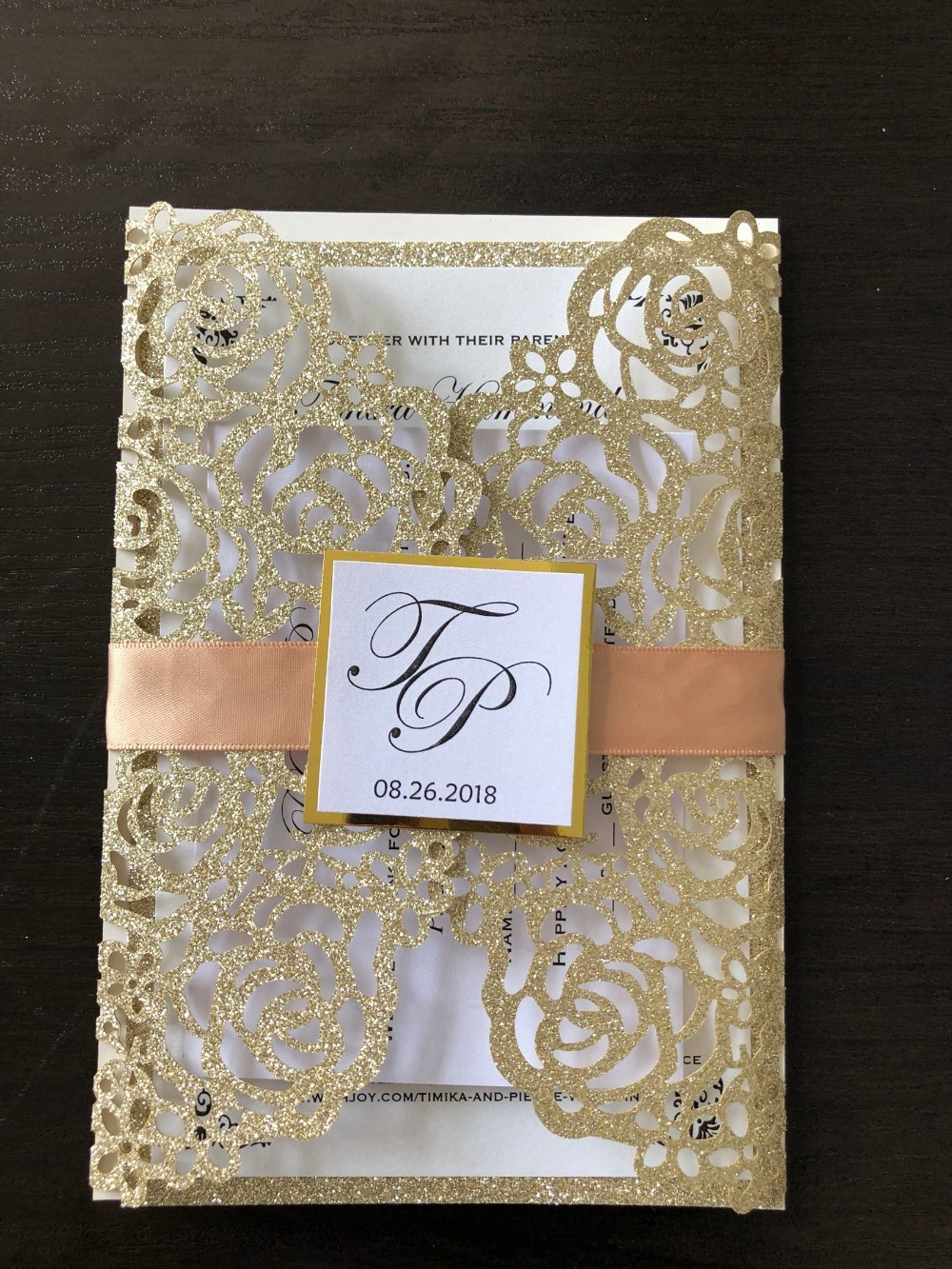 Glitter Gold Invitation Cards With Ribbon And Tag Customized Laser Cut Wedding Engagement Invitations 100PCS Express